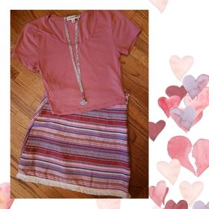 🍁Multi-Colored Striped Skirt w/Fringe Hem